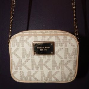 Michael Kors small off white chain tote
